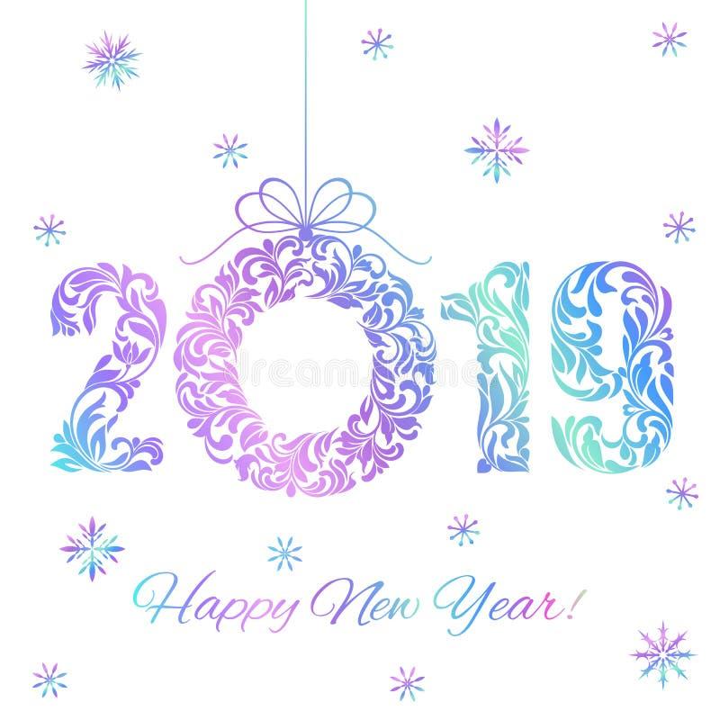 Szczęśliwy nowy rok 2019 Holograficzne liczby i Bożenarodzeniowy wianek odizolowywający na białym tle royalty ilustracja