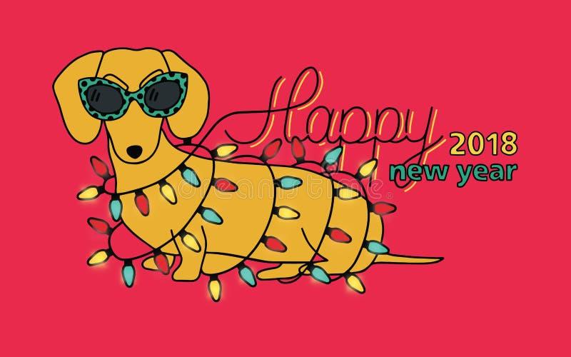 Szczęśliwy nowy rok 2018, horyzontalny kartka z pozdrowieniami Chiński rok żółty pies Gratulacje z śmiesznym jamnikiem wewnątrz ilustracja wektor
