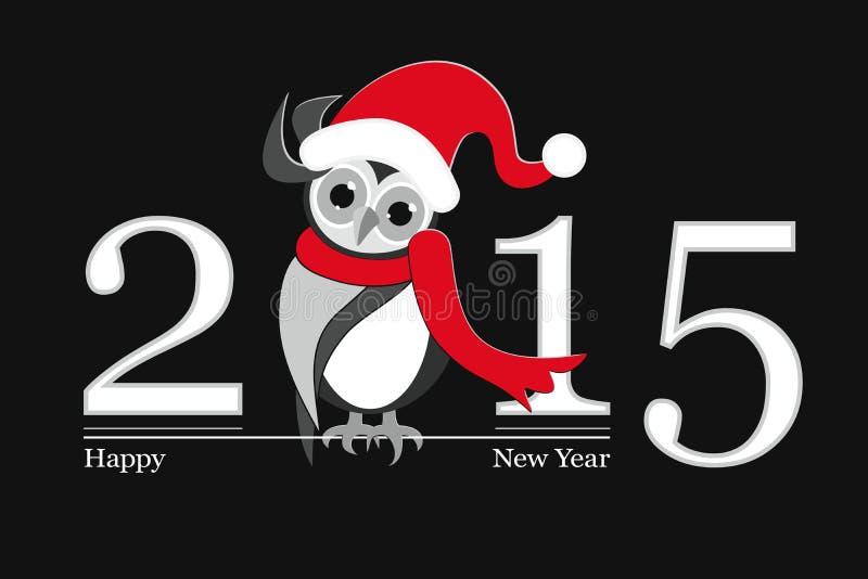 Szczęśliwy nowy rok 2015 i śmieszna sowa ilustracja wektor