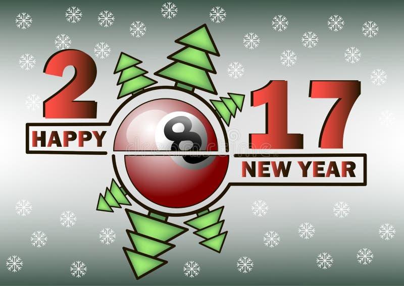 Szczęśliwy nowy rok i bilardowa piłka ilustracja wektor