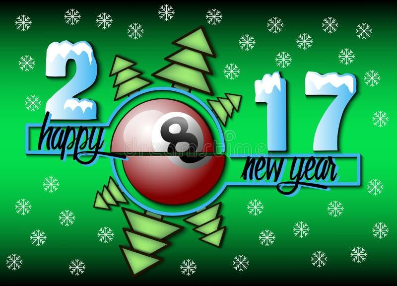 Szczęśliwy nowy rok i bilardowa piłka royalty ilustracja