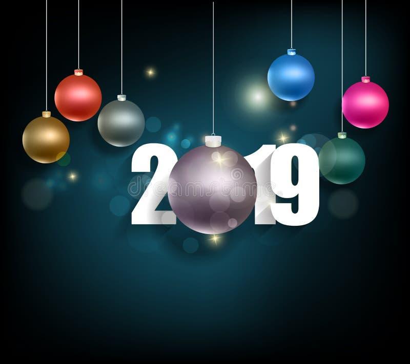 Szczęśliwy nowy rok 2019 i Wesoło boże narodzenia ilustracja wektor