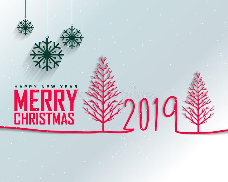 Szczęśliwy nowy rok 2019 i Wesoło boże narodzenia ilustracji