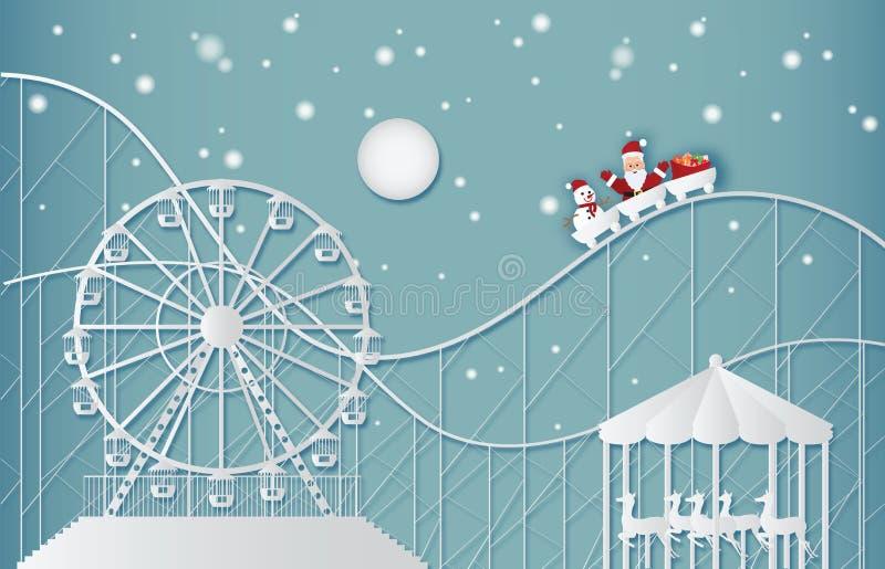 Szczęśliwy nowy rok i Wesoło boże narodzenia na parku rozrywki royalty ilustracja