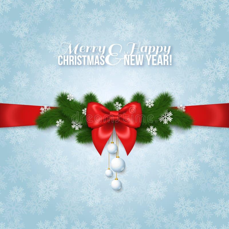 Szczęśliwy nowy rok i Wesoło bożych narodzeń kartka z pozdrowieniami projekt ilustracja wektor