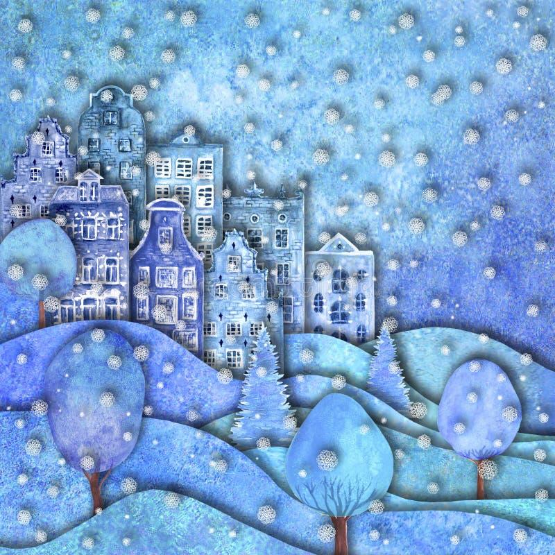 Szczęśliwy nowy rok i Wesoło bożych narodzeń projekt Watercolour ręki rysujący wzgórza, domy, drzewa, płatek śniegu ilustracji