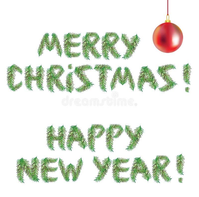 Szczęśliwy nowy rok i Wesoło choinka ilustracji