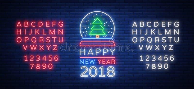 Szczęśliwy nowy rok 2018 jest neonowym znakiem Neonowy symbol dla twój nowego roku ` s projektów royalty ilustracja