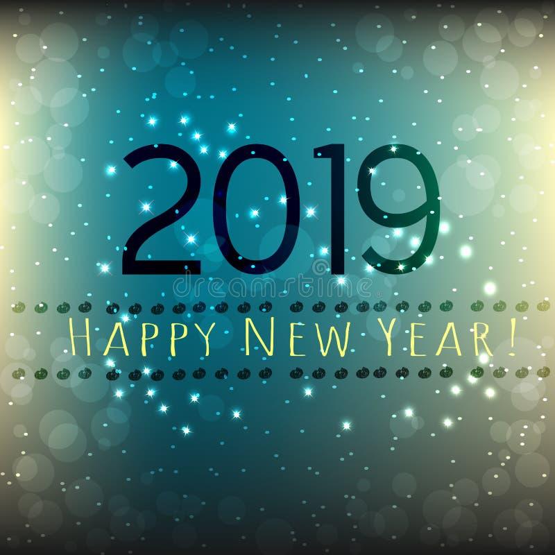 Szczęśliwy nowy rok 2019 karciany, abstrakcjonistyczny zmrok, i popielaty tło z gwiazdami - błękit royalty ilustracja