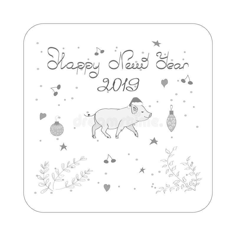 Szczęśliwy nowy rok! kartka bożonarodzeniowa Świnia jest symbolem Chiński Nowy 2019 Dla pocztówek, sprzedaży i innej zimy, royalty ilustracja