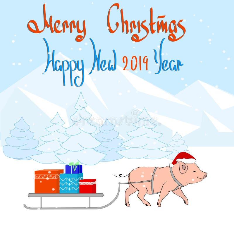 Szczęśliwy nowy rok! kartka bożonarodzeniowa Świniowaci i Bożenarodzeniowi prezenty Dla pocztówek, sprzedaży i innych zim wydarze ilustracji