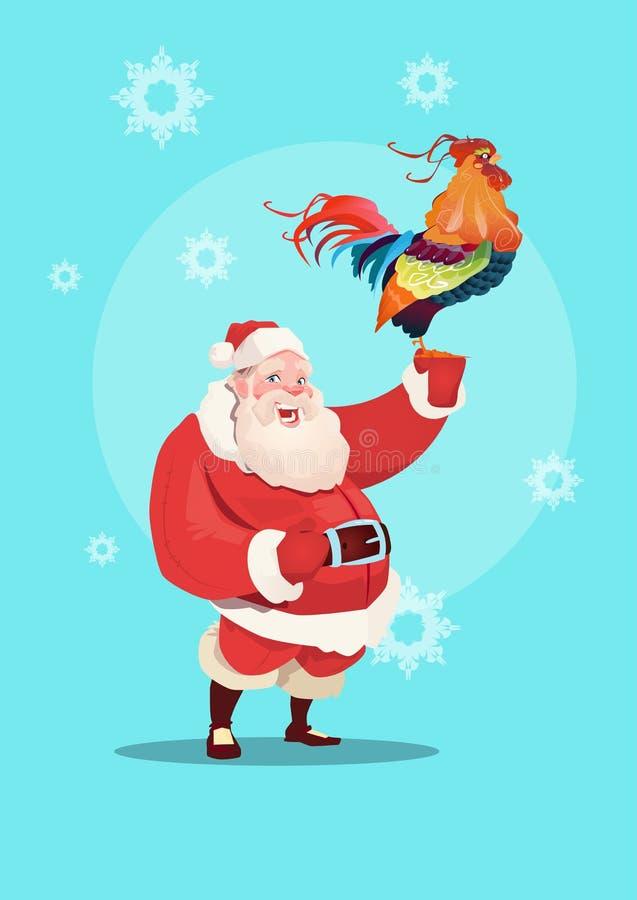 Szczęśliwy Nowy 2017 rok kogut Z Santa klauzula horoskopu Azjatyckim symbolem ilustracja wektor