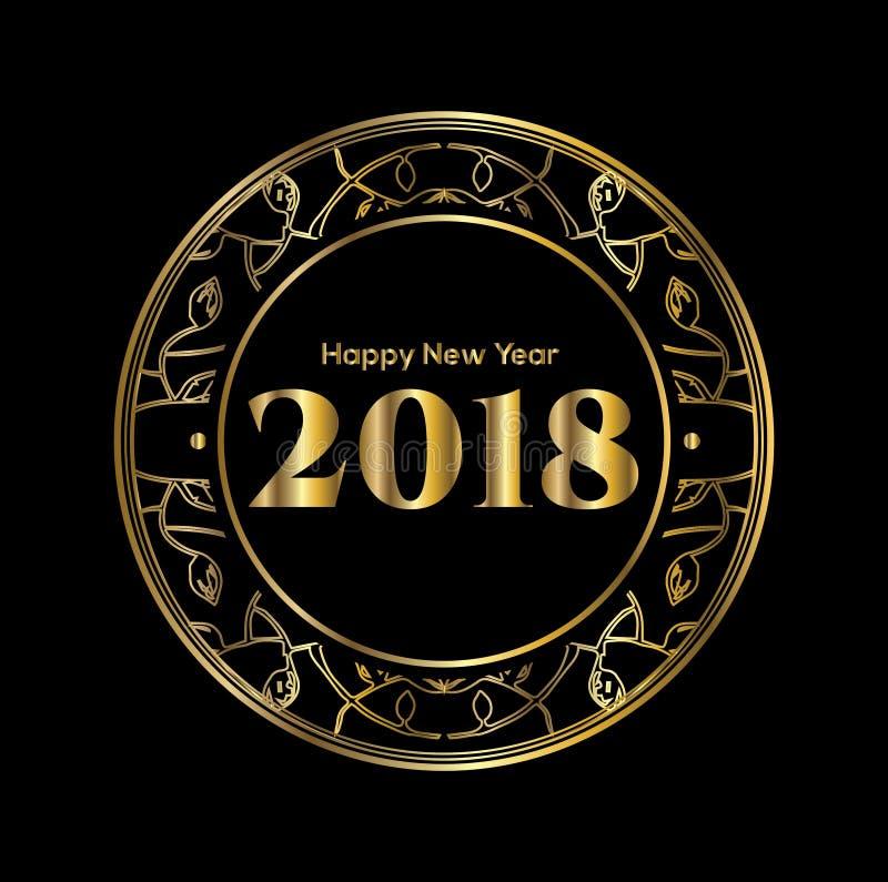 2018 - Szczęśliwy nowy rok, liczby w złotych lampasach royalty ilustracja
