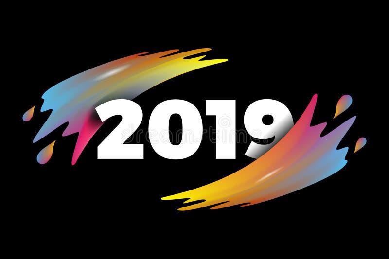 Szczęśliwy nowy rok 2019, liczebnik 2019, kolorowe 2019 wektorowych ilustracji ilustracja wektor