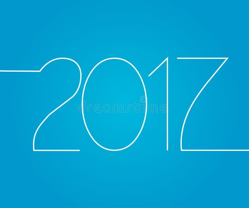 Szczęśliwy nowy rok, liczy 2017 odizolowywającego na błękitnym tle, powitanie konturu karty szablon wakacje V ilustracja wektor