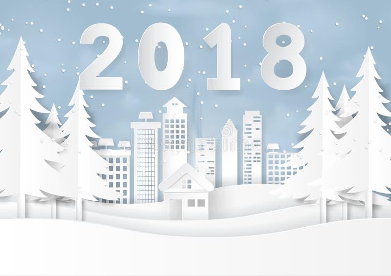 Szczęśliwy nowy rok 2018 na śniegu i zima sezon z miastowym landsca ilustracja wektor