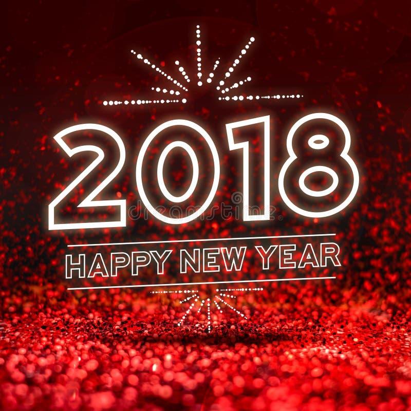 Szczęśliwy nowy rok 2018 na Abstrakcjonistycznej czerwonej błyskotliwości studia perspektywie ilustracja wektor