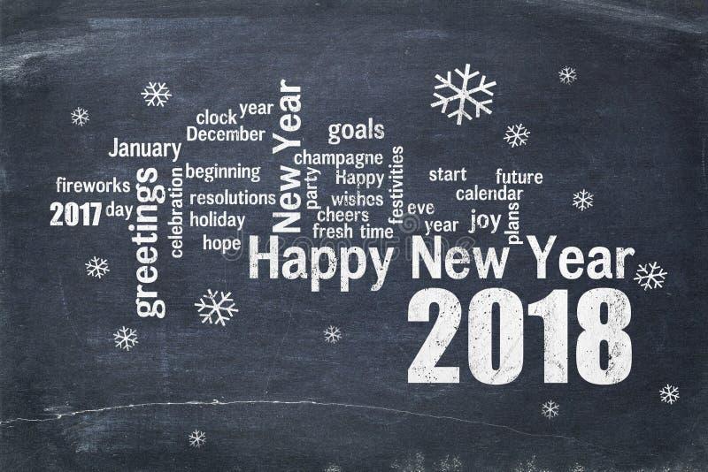 Szczęśliwy nowy rok 2018 na Blackboard zdjęcie royalty free