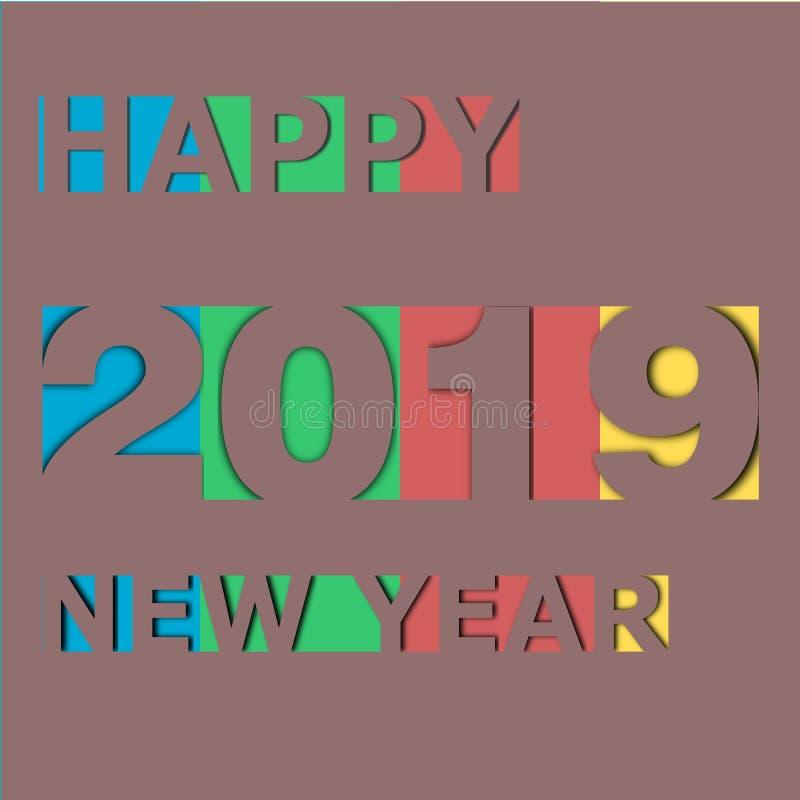 Szczęśliwy nowy rok 2019 na papierowej karcie ilustracji