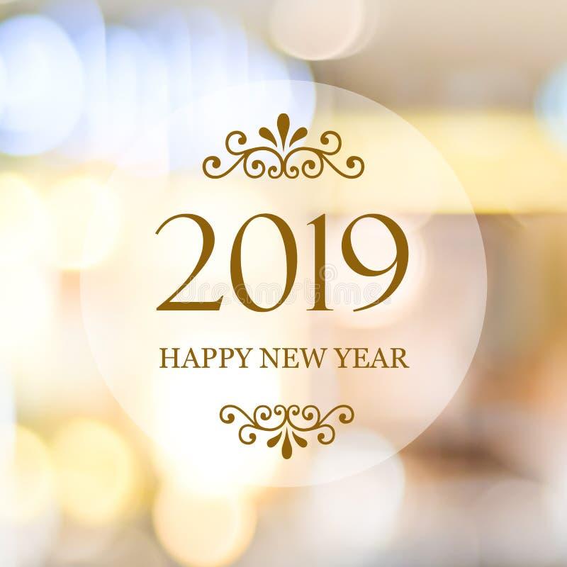 Szczęśliwy nowy rok 2019 na plamy bokeh abstrakcjonistycznym tle, nowy rok zdjęcie stock