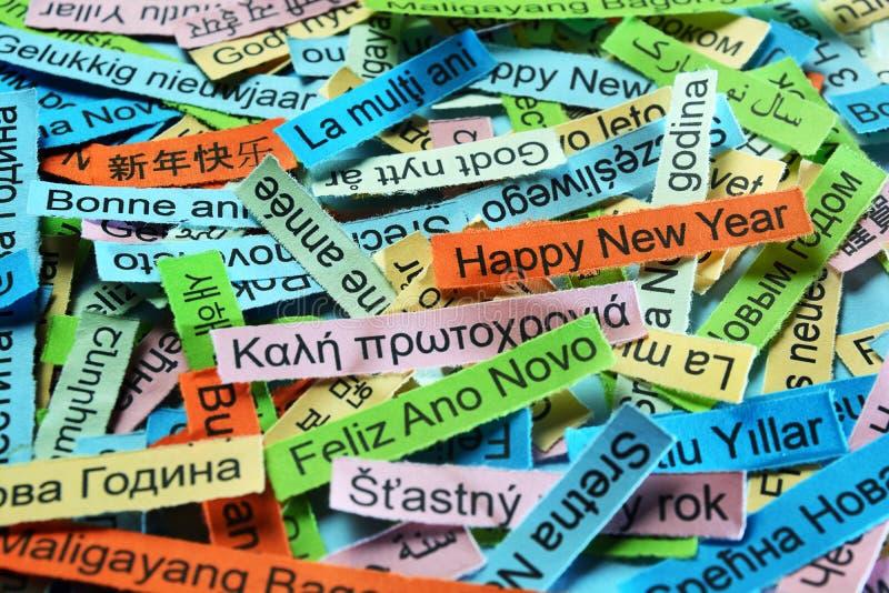 Szczęśliwy nowy rok na różnych językach obraz stock