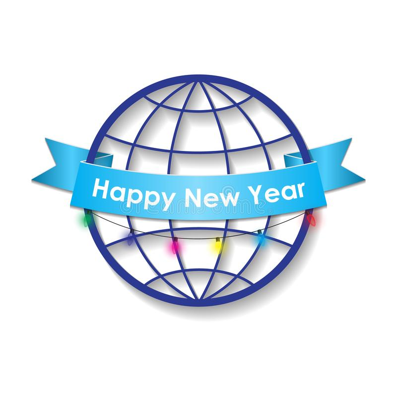 Szczęśliwy nowy rok na tle kula ziemska ilustracji
