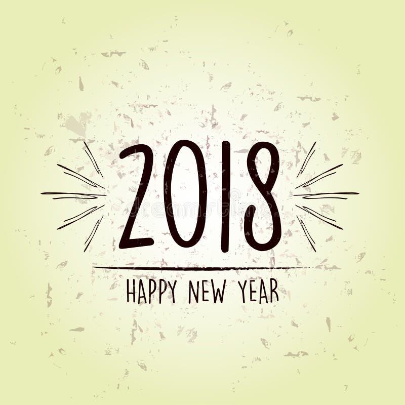 Szczęśliwy nowy rok 2018 nad zielonym starym papierowym tłem ilustracja wektor