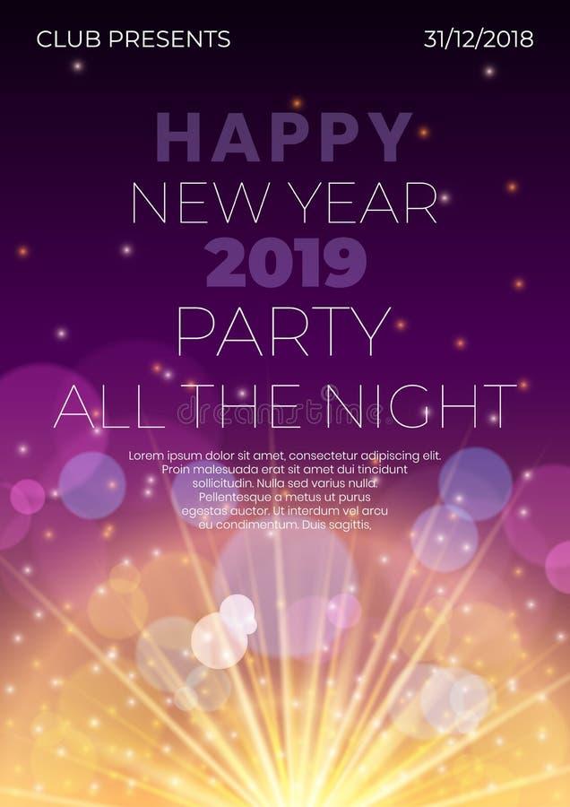 Szczęśliwy 2019 nowy rok nocy ulotki sztandaru pojęcie z jarzyć się gwiazdy, światło błyski, główna atrakcja okręgi, fajerwerku r ilustracji