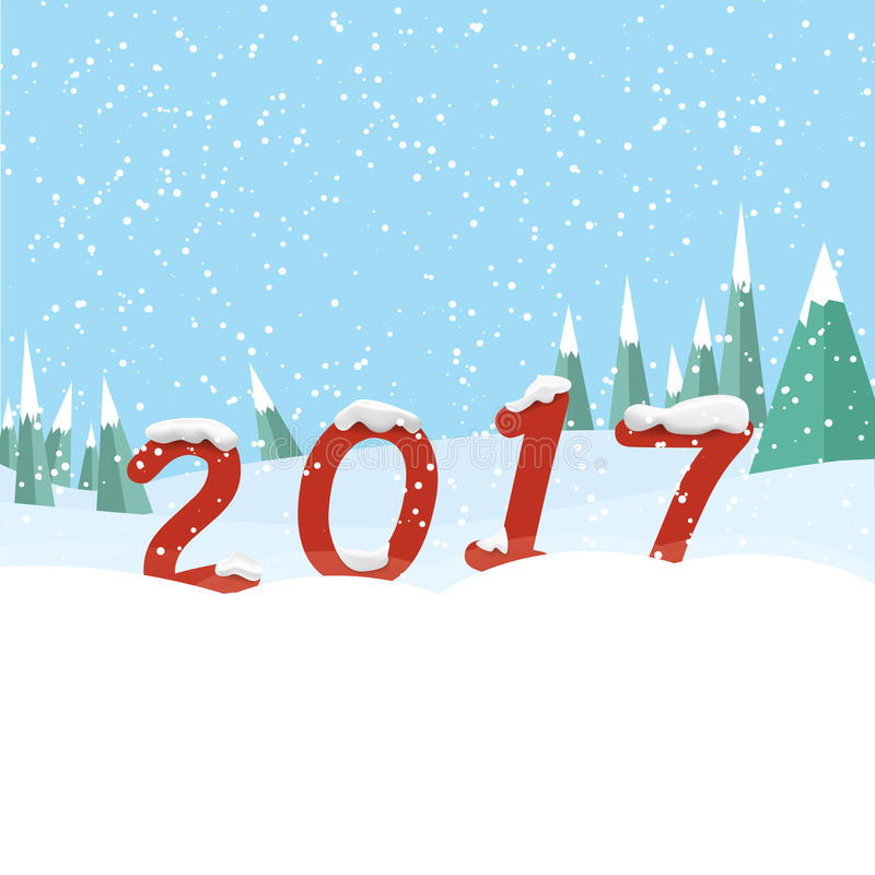 Szczęśliwy nowy rok 2017 Nowy rok liczby w śnieżnym lesie ilustracja wektor