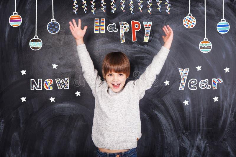 Szczęśliwy nowy rok od chłopiec obraz royalty free