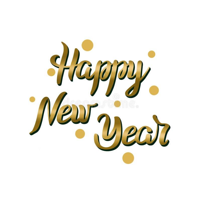 Szczęśliwy nowy rok pisze list złotego kolor, 3D typografii etykietka z confetti na białym tle Wakacyjna ilustracja ilustracji