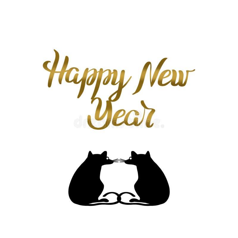 Szczęśliwy nowy rok pisze list złotego kolor, typografii etykietkę i sylwetka szczury na białym tle, royalty ilustracja