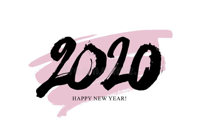 Szczęśliwy nowy rok 2020 Pociągany ręcznie liczby ilustracji