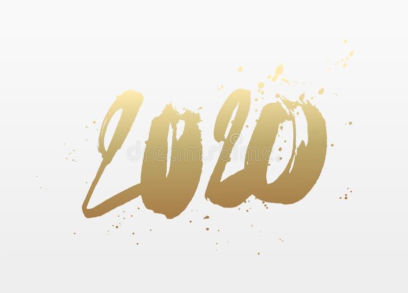Szczęśliwy nowy rok 2020 Pociągany ręcznie liczby ilustracja wektor