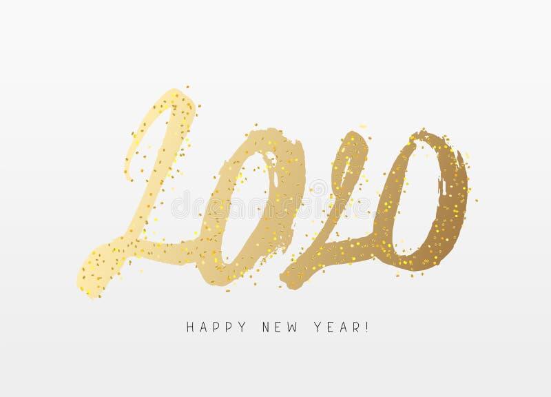 Szczęśliwy nowy rok 2020 Pociągany ręcznie liczby Wielka wakacyjnego prezenta karta royalty ilustracja