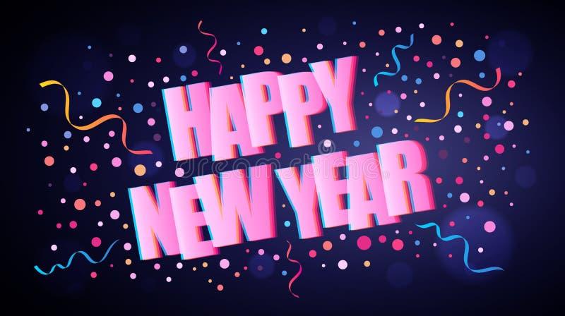 Szczęśliwy nowy rok pokrywa się literowanie z kolorowymi round confetti ilustracji