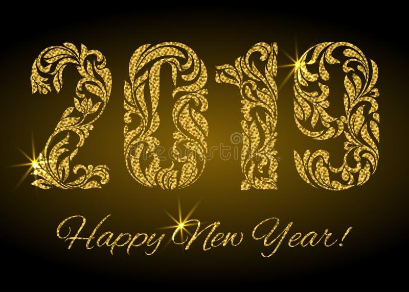 Szczęśliwy nowy rok 2019 Postacie od kwiecistego ornamentu z złotą błyskotliwością i iskier na ciemnym tle royalty ilustracja