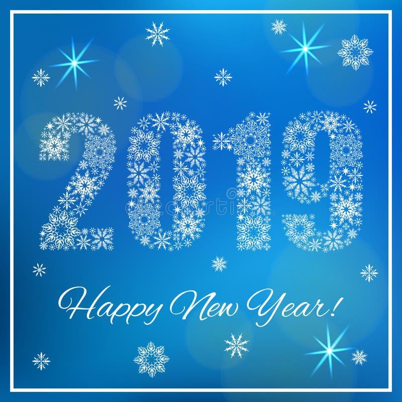 Szczęśliwy nowy rok 2019 Postacie robić płatki śniegu royalty ilustracja