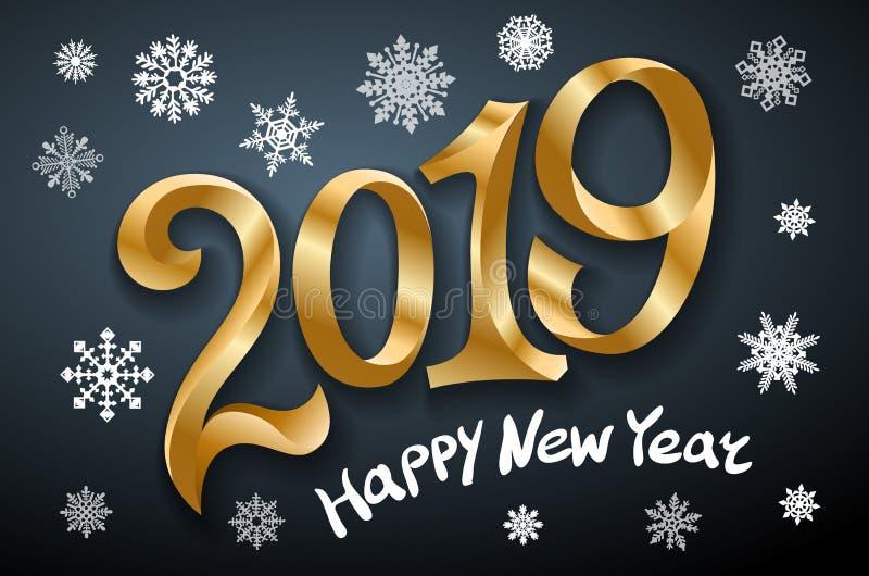 Szczęśliwy nowy rok 2019 2007 pozdrowienia karty szczęśliwych nowego roku Dwa tysiące i dziewiętnaście taśmy złota liczba na czar ilustracja wektor