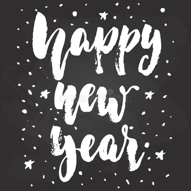 Szczęśliwy nowy rok - ręka rysujący Bożenarodzeniowi zima wakacje pisze list wycena odizolowywającą na czarnym chalkboard tle Zab royalty ilustracja