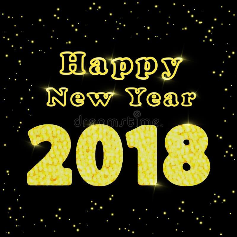 Szczęśliwy nowy rok 2018 Słowa z gratulacjami o szczęśliwym nowym roku z złotem i czerń kolorami ilustracja ilustracja wektor