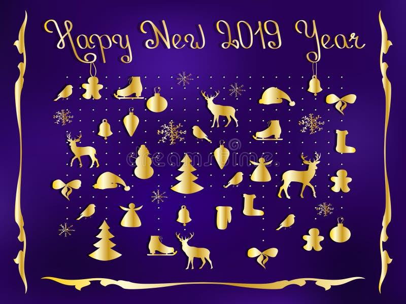 Szczęśliwy nowy rok 2019 Set elementy, ręka rysujący styl, inni elementy, - zwierzęta i pocztówka ilustracja wektor