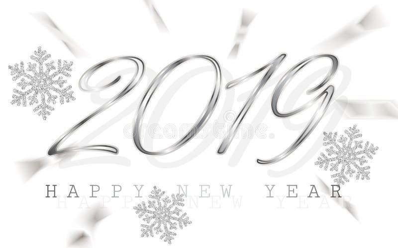 Szczęśliwy nowy rok 2019 Srebro liczby z faborkami i confetti na białym tle również zwrócić corel ilustracji wektora ilustracji
