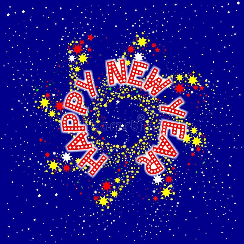 Szczęśliwy nowy rok szpilki koło ilustracja wektor