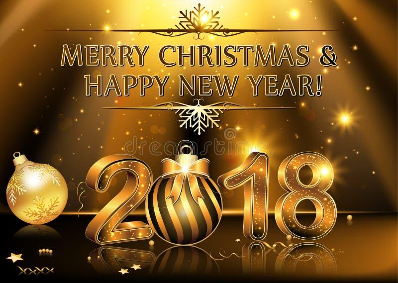 Szczęśliwy nowy rok 2018 - tło royalty ilustracja