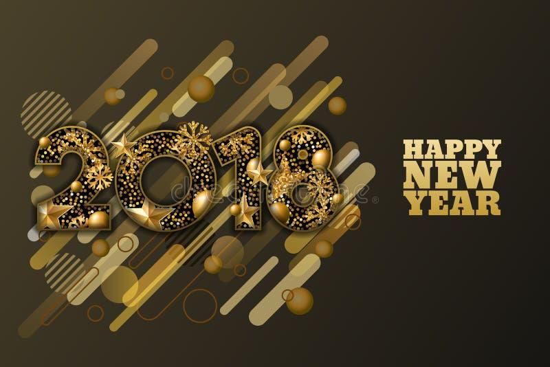Szczęśliwy nowy rok 2018 tapetuje rżniętego sztandar lub kartka z pozdrowieniami 3d złota liczby z gwiazdami, płatki śniegu na cz ilustracji