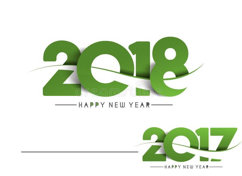 Szczęśliwy nowy rok 2018, 2017 - teksta projekt royalty ilustracja