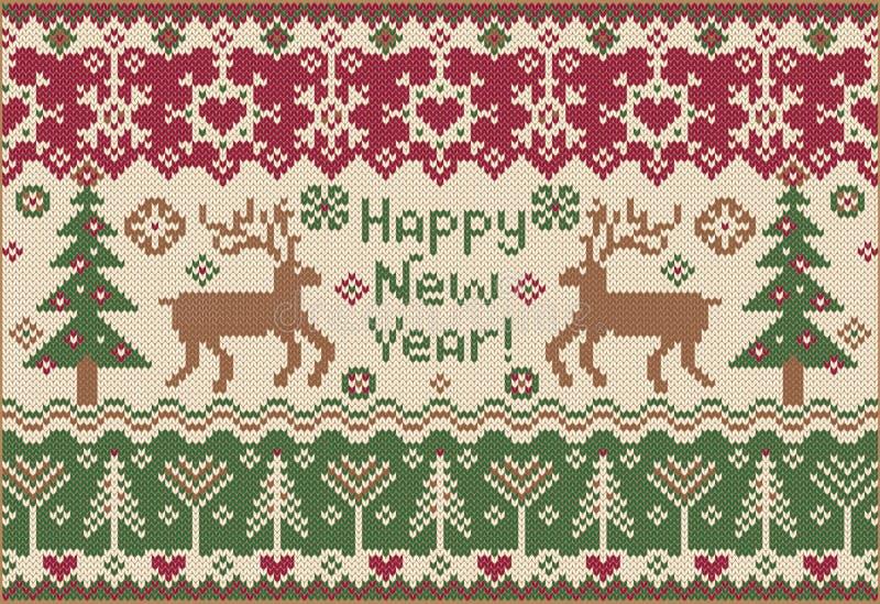 Szczęśliwy Nowy Rok! Trykotowy styl ilustracji