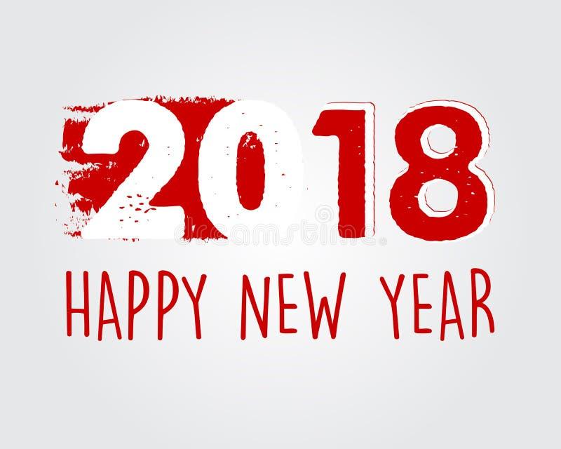 Szczęśliwy nowy rok 2018 w czerwień rysującym sztandarze zdjęcia royalty free