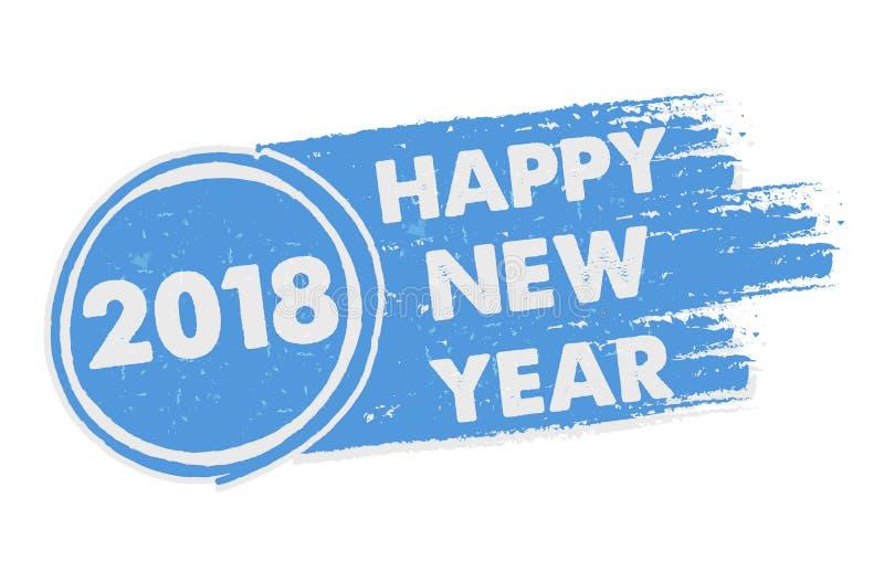 Szczęśliwy nowy rok 2018 w patroszonym błękitnym sztandarze ilustracji